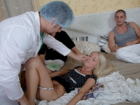 Doctor checks blonde virgin pussy before her threesome with two in bed
