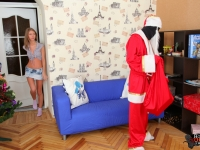Perky Ira gets her christmas present early from black santas huge cock under her skirt