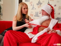 Blonde russian teen with in black stockings and shaved pussy tries anal sex with Santa