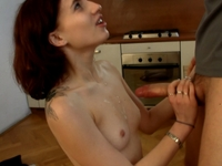 Rosy : Rosy sucks her friends rod on the kitchen. : sex scene #12