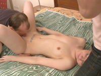 Father & son fuck sons blonde girlfriend and finally fuck her tight pussy