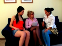 Audrey : Teacher and two coeds pet each other on the sofa. : sex scene #2