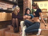 Linda : Linda, Nika and their teacher masturbate on stairs : sex scene #4