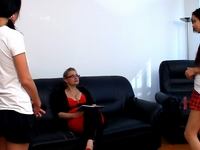 Young lesbian student give teacher breast licking and lots of pussy licking