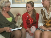 Becky : Perverted aged lesbian slut seduced two young babes. : sex scene #6