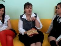 Jasmine : Dina and Kira suck and lick huge tits of their teacher. : sex scene #4