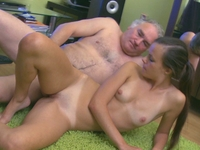 Tina : Tina gets splattered in cum when the old guy can take no more  : sex scene #9