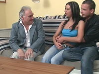 Zarina : Zarina gets her little boobs cum soaked by both her boyfriend and the older guy  : sex scene #1
