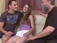 Nina : Bearded old man loves to suck on Nina's nipples until she gets nice and wet for him  : sex scene #2