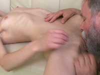 Nina : Bearded old man loves to suck on Nina's nipples until she gets nice and wet for him  : sex scene #5