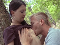 Olga : Against a tree, on the forest floor, it doesn't matter where he fucks her, he's just grateful he finally does get to fuck her : sex scene #4