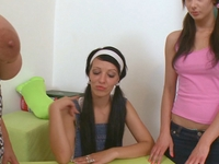 Two brunettes learn lesbian sex with teacher always means wild sex ahead