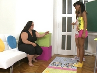 Sultry bbw teacher leads interracial students into wild 3 way lesbian sex