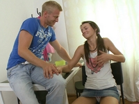 Beautiful young girl sucks cock and finally fucked by her waiting man