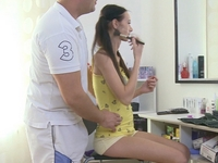 Dinara : Dinara has her pussy eaten out by her man. He licks her pussy and makes her pussy nice and wet. : sex scene #1