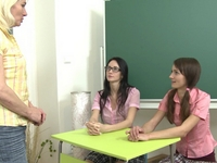 Amanda : Amanda and her friend enter the teachers room where their sexy blonde teacher awaits them patiently. : sex scene #2