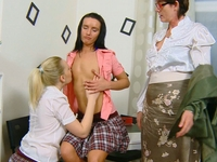 Olya : Olya and her sweet young sexy schoolmate are brought into their teachers class for discipline. : sex scene #5