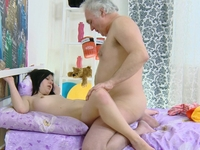 Alena : Alena and her man are together in bed and he has an older friend. : sex scene #7