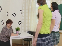 Amanda : Amanda and her sexy school mate are brought into their teachers class after school. : sex scene #1