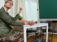 Simona : Simona and her sexy classmate are waiting in the classroom for their teacher. : sex scene #1