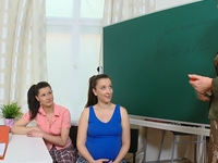 Hot lesbians seduced by older teacher leading to steamy female action