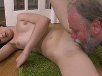 Olga : Olga has her top slipped down by her older man and he licks her breasts well. : sex scene #6