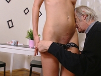 Nelya : Nelya gets her breasts licked and sucked by her older man and enjoys his touch. : sex scene #4