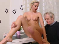 Nelya : Nelya gets her breasts licked and sucked by her older man and enjoys his touch. : sex scene #5