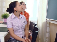Marina : Marina and her sexy young female friend are struggling for grades and go to their lesbian teacher. : sex scene #2