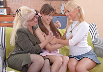 Lesbian teacher with dildo